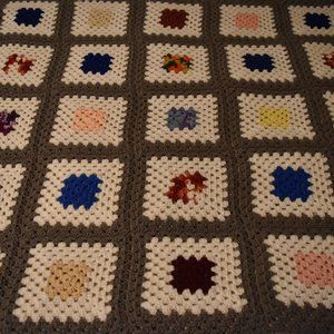 Hand-made crocheted afghan throw